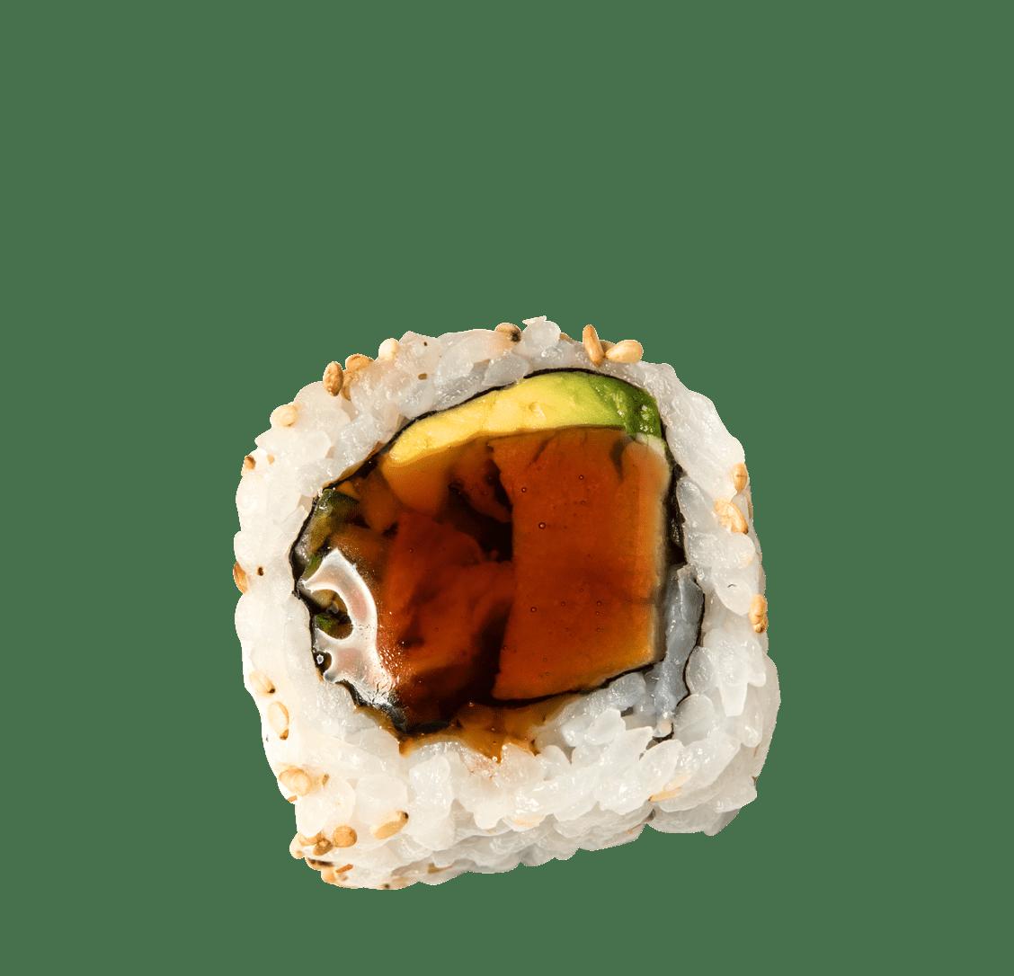 Hühnchen, Gurke, Avocado, Teriyakisauce title=Chicken Teriyaki Roll </br>8,50 €