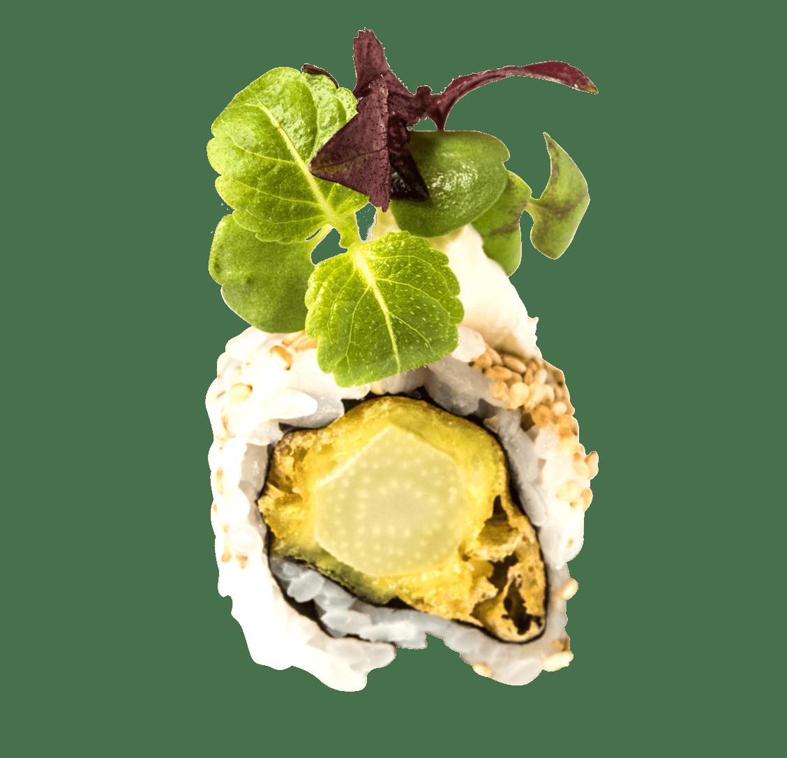 Grüner Spargel Tempura, Frischkäse, Shiso Kresse title=Creamy California Roll </br>9,50 €