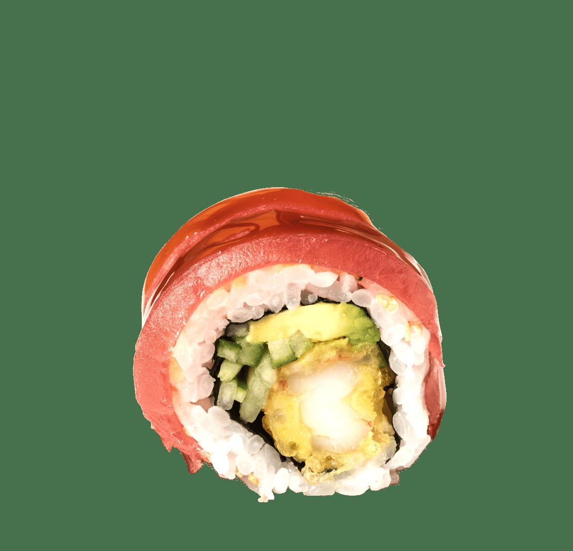 Garnelen Tempura, Gurke, Avocado, Tuna Sashimi title=Crispy Roll<br/>11,00