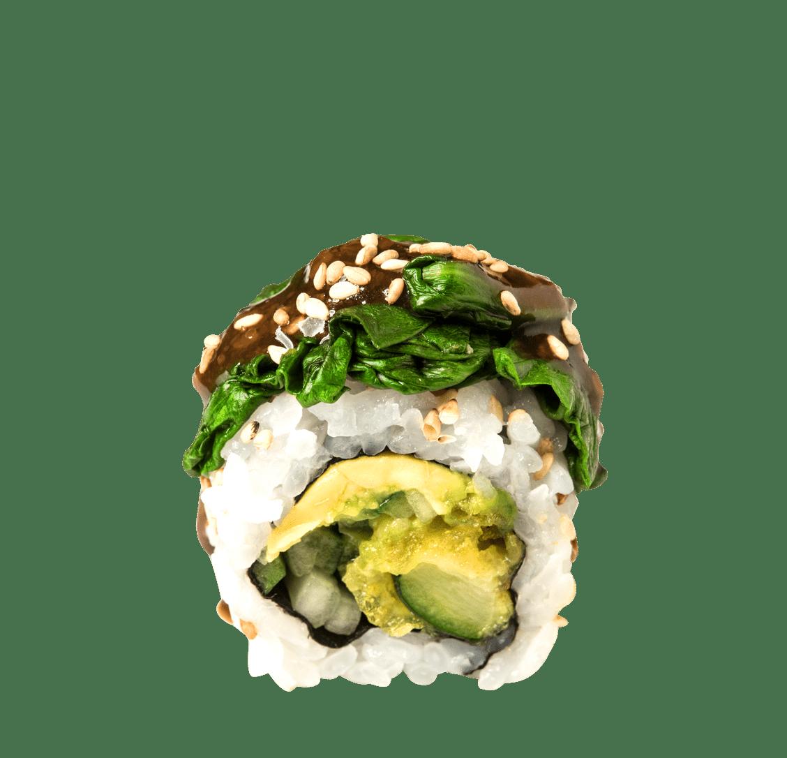 Zucchini Tempura, Gurke, Avocado, Spinat, Sesamsauce title=Green Roll<br/>8,50