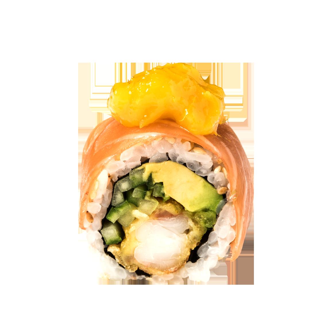 Garnelen Tempura, Gurke, Avocado, Lachs Sashimi, Mango title=Mango Salmon Roll </br>11,00 €
