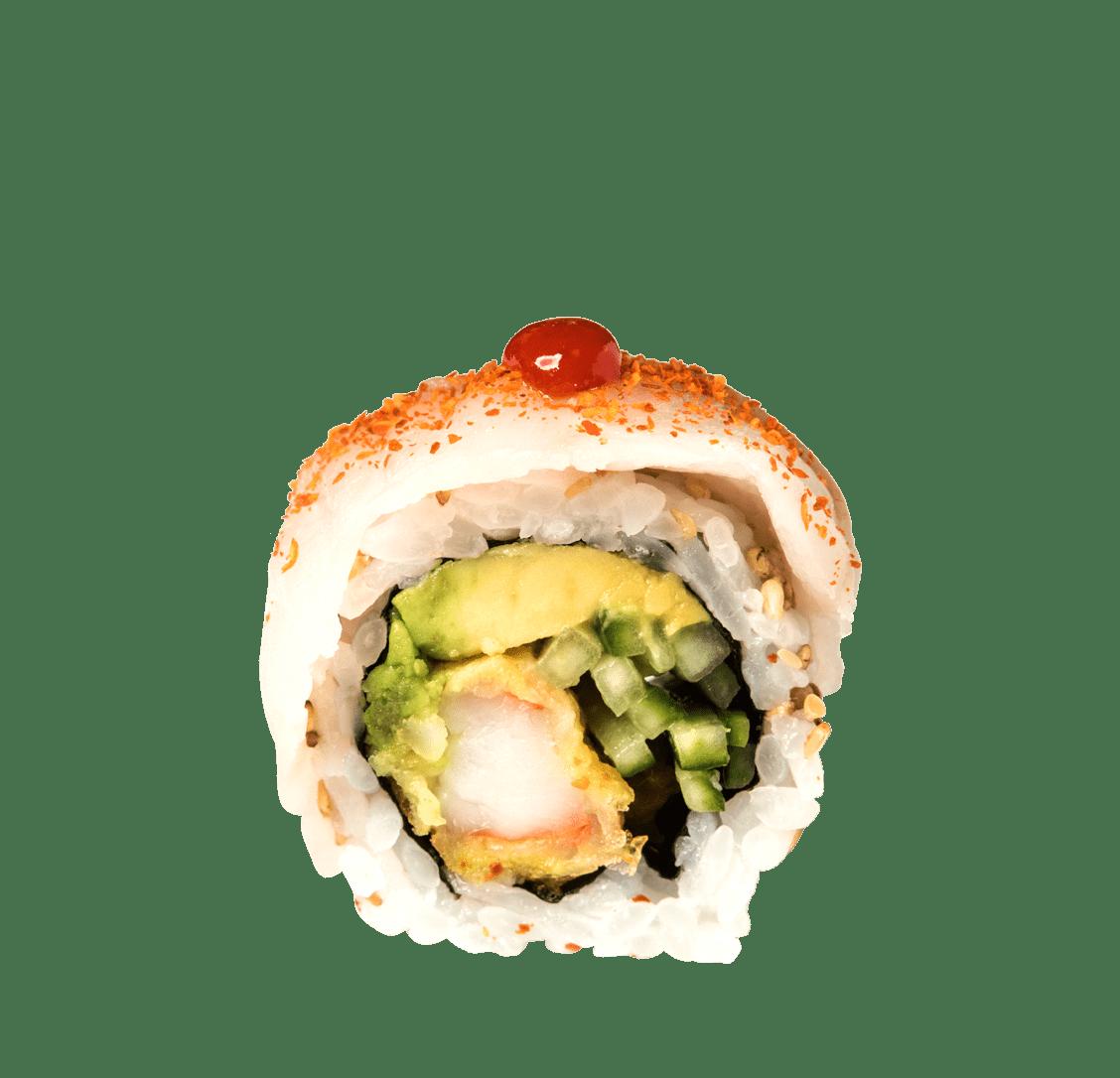 Garnelen Tempura, Togarashi, Schnittlauch, Hamachi title=Spicy Hamachi Roll<br/>12,00 €
