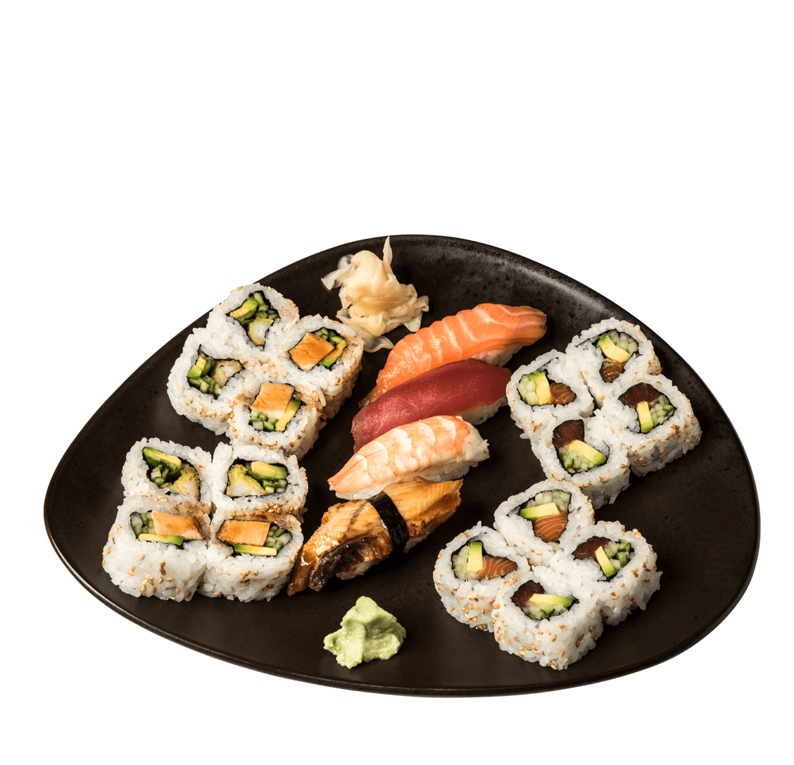 SUSHI MIX<br/>KLEIN • 1 CALIFORNIA ROLL, 2 NIGIRI 12,50€<br/>GROSS • 2 CALIFORNIA ROLLS, 4 NIGIRI 23,50€ title=SUSHI MIX<br/>KLEIN • 1 CALIFORNIA ROLL, 2 NIGIRI 12,50€<br/>GROSS • 2 CALIFORNIA ROLLS, 4 NIGIRI 23,50€