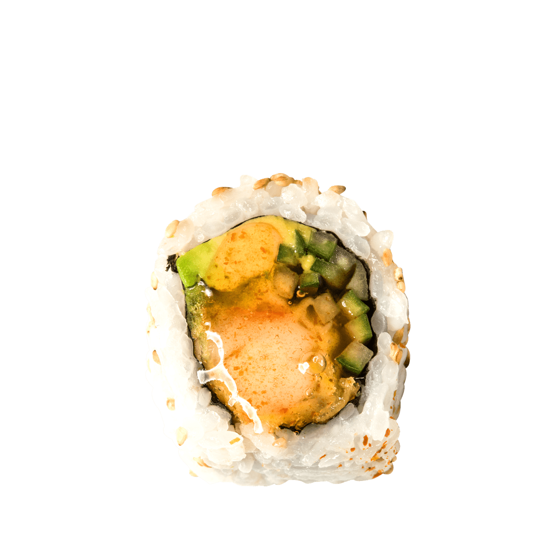 Garnelen Tempura, Avocado, süß-scharfer Sesamsirup title=Sweet Dream Roll<br/>9,50 €