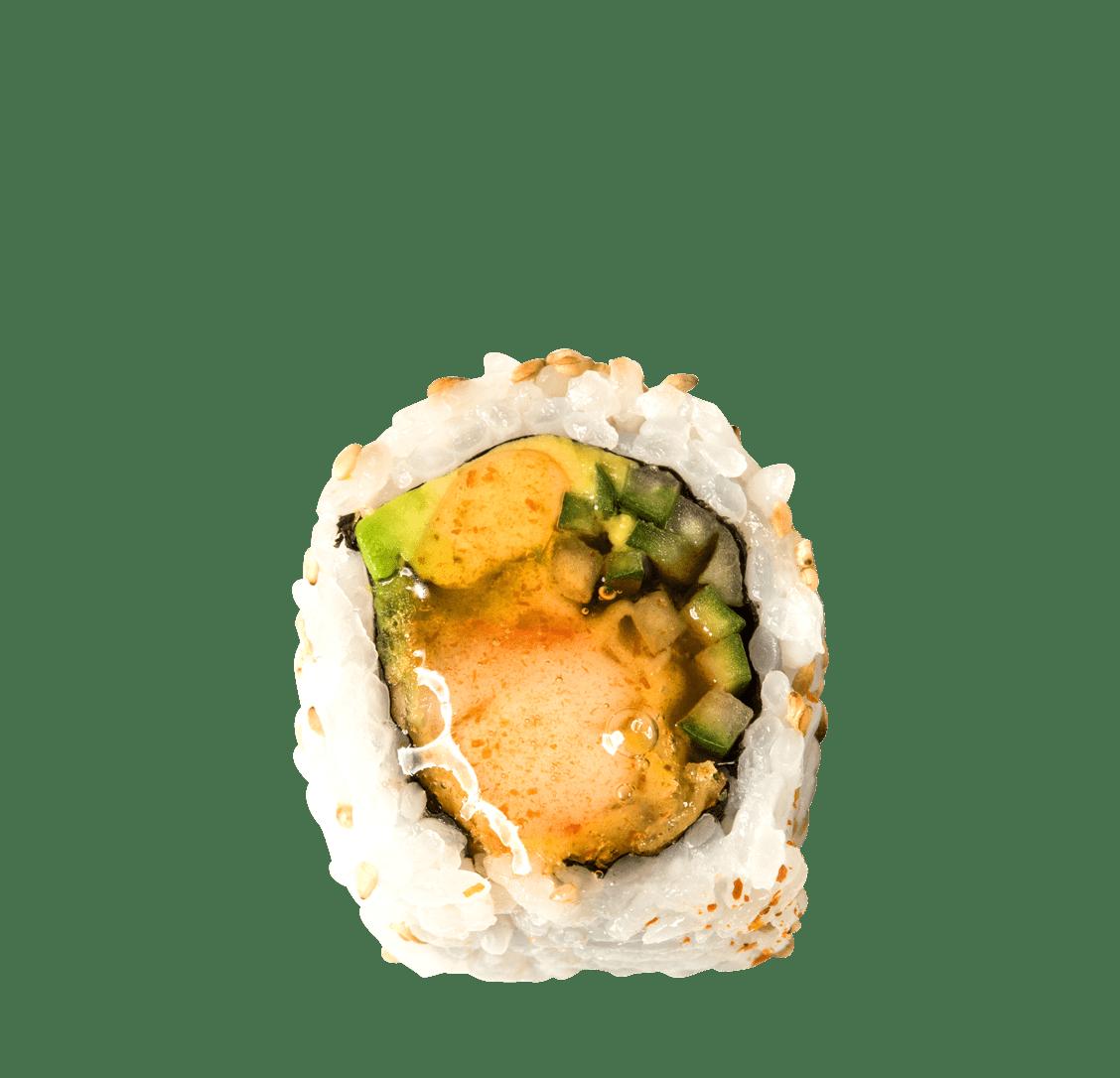 Garnelen Tempura, Avocado, süß-scharfer Sesamsirup title=Sweet Dream Roll<br/>9,50 €