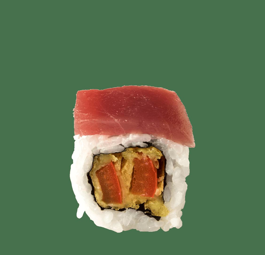 Paprika Tempura, Thunfisch Sashimi, Teriyaki-Balsamico-Sauce title=Sweet Pepper Roll<br/>10,50 €